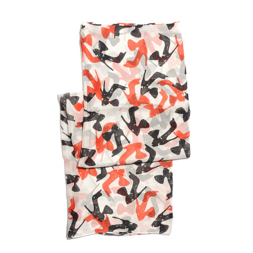100% Mulberry Silk Off White, Red and Multi Colour High Heel Handscreen Printed Scarf (Size 180x100 Cm)