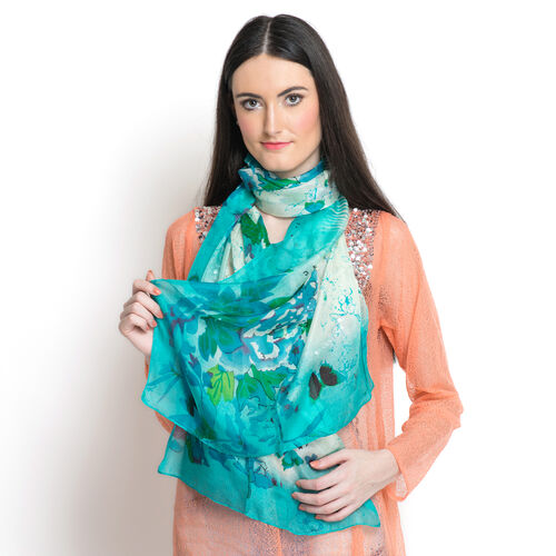 SILK MARK - Made in Kashmir 100% Silk Green and Multi Colour Floral and Butterfly Pattern White Colour Scarf (Size 180x50 Cm)