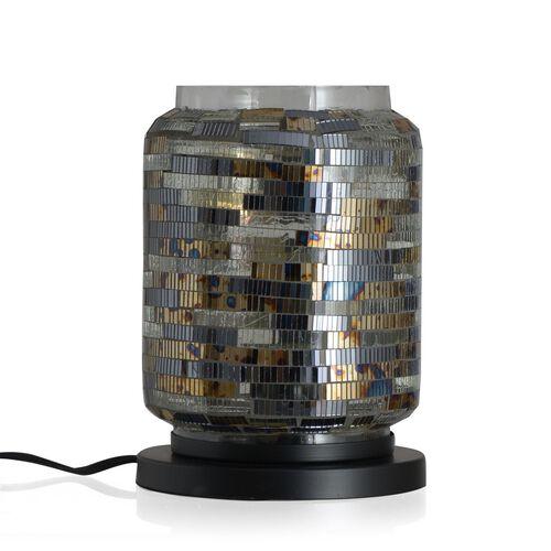 Home Decor - Handicraft Mosaic Glass Lamp in Two Tone Black