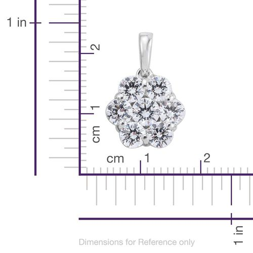 J Francis - Platinum Overlay Sterling Silver (Rnd) 7 Stone Floral Pendant Made with SWAROVSKI ZIRCONIA