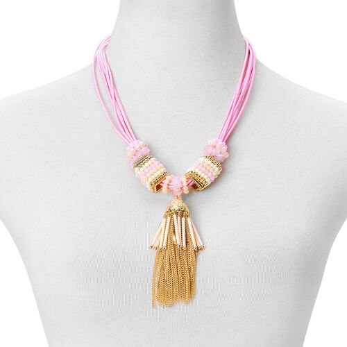 Rose Quartz and Simulated Multi Colour Pearl Tassel Necklace (Size 21 with 2 Inch Extender) in Yellow Gold Tone. 140ct