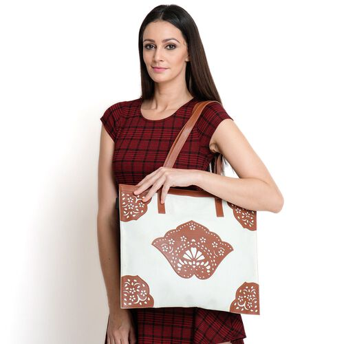 Laser Cut Pattern Chocolate and Off White Colour Tote Bag