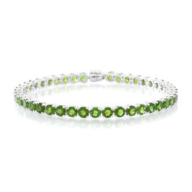 Russian Diopside (Rnd) Tennis Bracelet (Size 7.5) in Rhodium Plated Sterling Silver with Magnetic Clasp11.750 Ct.