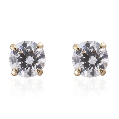 J Francis - 9K Yellow Gold Round Solitaire Stud Earrings (with Push Back) Made with SWAROVSKI ZIRCONIA
