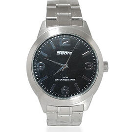 SABRE Japanese Movement Black Dial 3 ATM Water Resistant Watch with Stainless Steel Strap