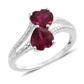 New Arrival - Designer Inspired Heart Cut (7mm) AAA Simulated Ruby Ring in Sterling Silver