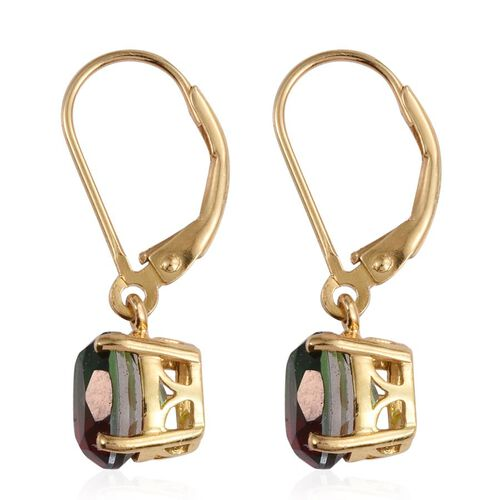 BI-Colour Tourmaline Quartz (Ovl) Lever Back Earrings in 14K Gold Overlay Sterling Silver 3.000 Ct.