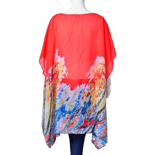 Red, Blue and Multi Colour Abstract Pattern Poncho (Free Size)