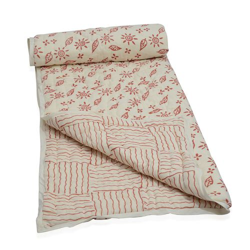100% Cotton Hand Block Red Mahogani Colour Leaves and Sun Printed White Colour Quillow (Size 150x110 Cm)