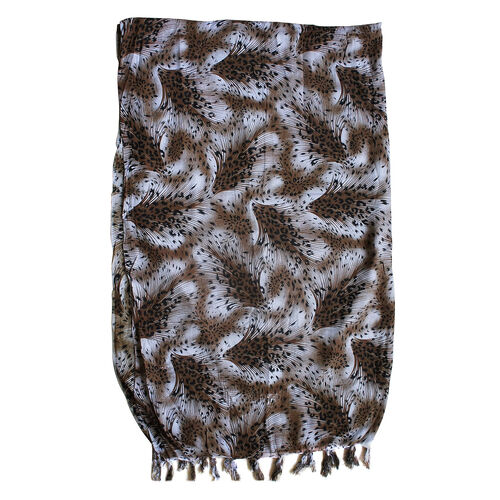 Bali Collection Black and Chocolate Colour Printed Scarf With Tassels (Size 155x100 Cm)