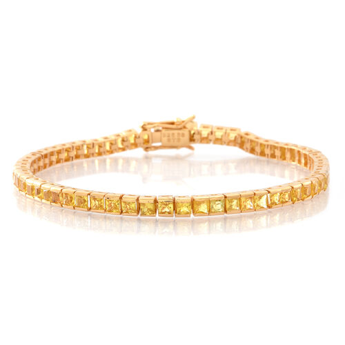 AAA Chanthaburi Yellow Sapphire (Princess) Tennis Bracelet (Size 7.5) in 14K Gold Overlay Sterling Silver 9.000 Ct.