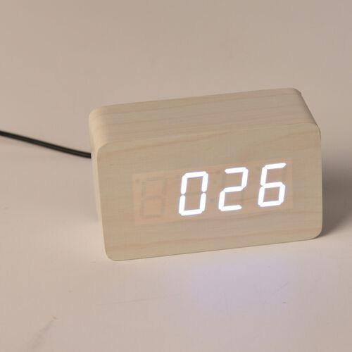 Wooden Style Brick LED Clock (With Sound Activation, 3 Alarm Setting, Room Temperature, Date Display Feature)- White-White