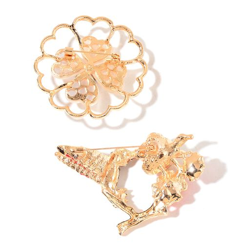 Set of 2 - AAA White, Black and Multi Colour Austrian Crystal and Simulated White Cats Eye Enameled Floral and Humming Bird Brooch in Yellow Gold Tone