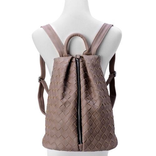 Olympia Dark Beige Weave Pattern Back Pack with  Adjustable Shoulder Strap (Size 34.5x27x17 Cm)