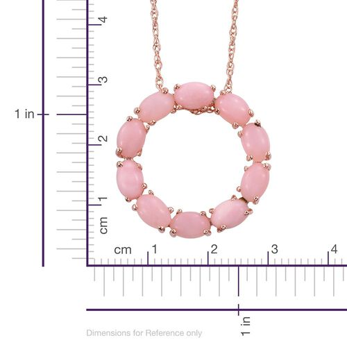 Natural Peruvian Pink Opal (Ovl) Circle of Life Pendant With Chain in Rose Gold Overlay Sterling Silver 4.000 Ct.
