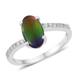 AA Canadian Ammolite (Ovl 12x7mm), Natural Cambodian Zircon Ring in Platinum Overlay Sterling Silver 2.250 Ct.