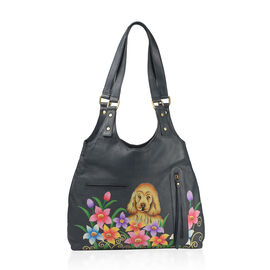 Genuine Leather Black and Multi Colour Hand Painted Puppy and Floral Design Shoulder Bag (Size 41X30X9 Cm)