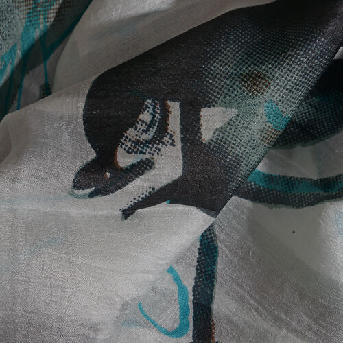100% Mulberry Silk Green, White and Multi Colour Printed Scarf (Size 180x100 Cm)