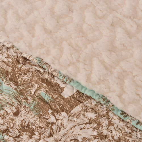 King Size Supersoft Sherpa Quilt - Toile de Jouy Village Scene Print in Turquoise and Beige Tones (Size 260X240 Cm)
