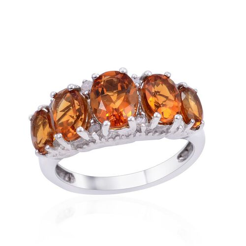 Madeira Citrine (Ovl 1.15 Ct), Diamond Ring in Platinum Overlay Sterling Silver 3.350 Ct.