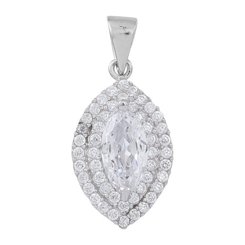 ELANZA AAA Simulated White Diamond (Mrq) Pendant in Rhodium Plated Sterling Silver