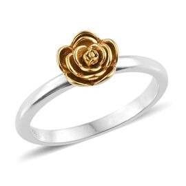 Platinum and Yellow Gold Overlay Sterling Silver Rose Flower Ring, Silver wt. 2.03 Gms.