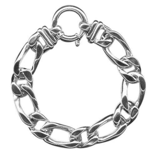 Designer Inspired Sterling Silver Figaro Bracelet (Size 7.75), Silver wt 22.00 Gms.