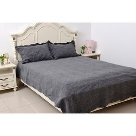 Stone Washed King Size Fully Embroidered Quilt Set in Dark Grey Colour  (240x260 and 2 Pcs. 50x75 cm)