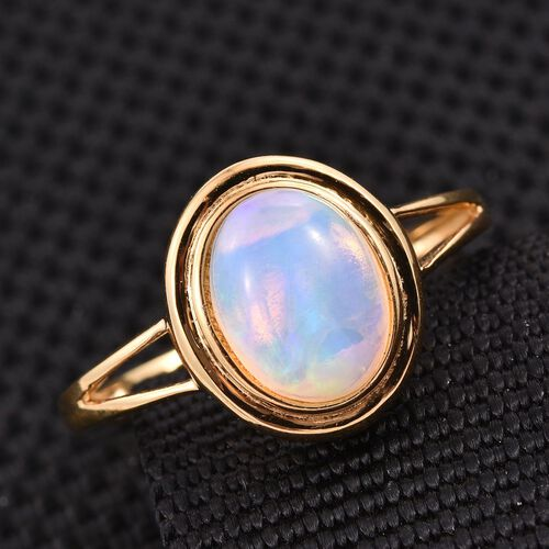 Ethiopian Welo Opal (Ovl) Solitaire Ring in 14K Gold Overlay Sterling Silver 1.000 Ct.