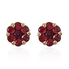 Mahenge Spinel (Rnd) Floral Stud Earrings (with Push Back) in 14K Gold Overlay Sterling Silver 1.000 Ct.