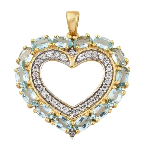Paraiba  Apatite (Ovl), Natural Cambodian Zircon Heart Pendant in 14K Gold Overlay Sterling Silver 3.750 Ct.