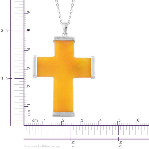 Yellow Jade Cross Pendant With Chain in Rhodium Plated Sterling Silver 21.750 Ct.