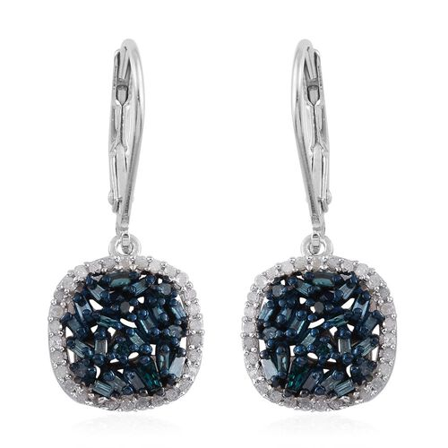Blue Diamond (Bgt), White Diamond Lever Back Earrings in Platinum Overlay Sterling Silver 0.750 Ct.