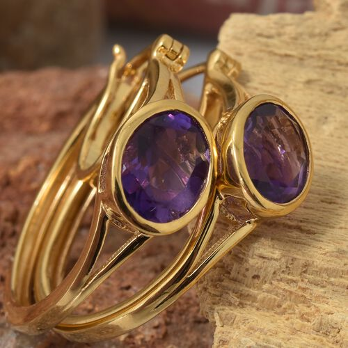 Amethyst (Ovl) Hoop Earrings (with Clasp) in 14K Gold Overlay Sterling Silver 3.250 Ct. Silver wt 5.22 Gms.