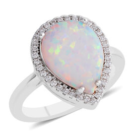 New Concept - AAA Simulated Opal (Pear), Simulated Diamond Ring in Silver Plated