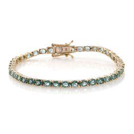9K Yellow Gold AA Boyaca Colombian Emerald (Ovl) Tennis Bracelet (Size 7) 6.250 Ct.
