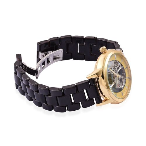 GENOA Skeleton Movement Yellow Dial Water Resistant Watch in Gold Tone with Stainless Steel Back and Black Ceramic Strap