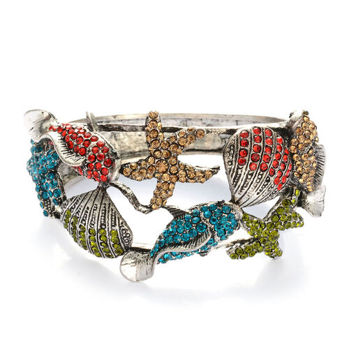 Multi Colour Austrian Crystal Bangle (Size 7.5) in Silver Tone