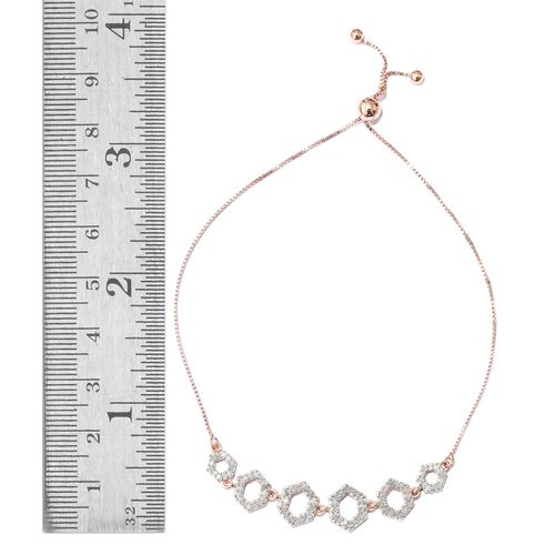 Diamond 0.50 Carat Silver Honeycomb Adjustable Bracelet in Rose Gold Overlay (Size 6.5 to 8.5)