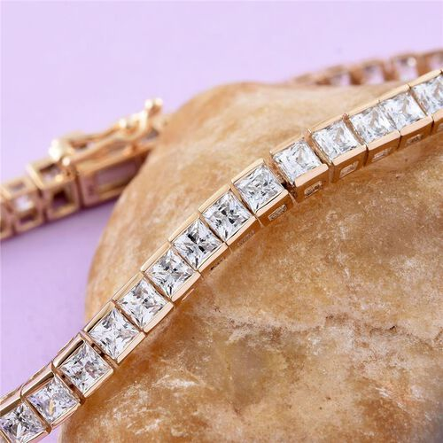 Limited Edition J Francis - 9K Y Gold (Princess Cut) Bracelet (Size 7.5) Made with SWAROVSKI ZIRCONIA. Gold Wt 9.34 Gms