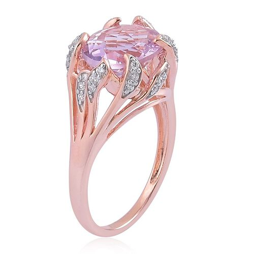 Rose De France Amethyst (Ovl 3.00 Ct), White Zircon Ring in Rose Gold Overlay Sterling Silver 3.250 Ct.