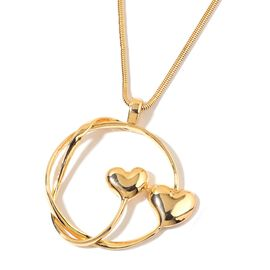 Heart Pendant with Snake Chain in Yellow Gold Tone