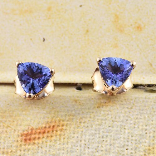 9K Yellow Gold 1 Carat AA Tanzanite (Trl) Stud Earrings (with Push Back)
