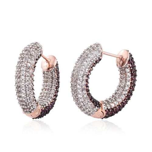 Designer Inspired - Rhodolite Garnet (Rnd), Natural Cambodian Zircon Hoop Earrings in Rose Overlay Sterling Silver 10.00 Ct. Gemstone Studded 480.Silver Wt 17.81 Gms