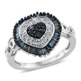 Blue Diamond (Rnd), White Diamond Heart Ring in Platinum Overlay Sterling Silver 0.505 Ct.