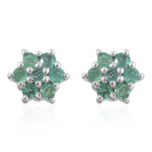 Kagem Zambian Emerald (Rnd) Floral Stud Earrings (with Push Back) in Platinum Overlay Sterling Silver 0.500 Ct.