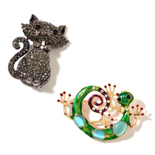 Set of 2 - Simulated Blue-Green Cats Eye and Multi Colour Austrian Crystal Gecko and Cat Brooch or Pendant with Chain (Size 20) in Black and Yellow Gold Tone