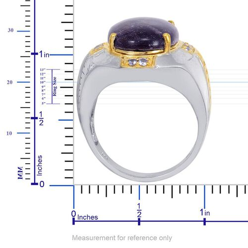 Designer Collection Utah Tiffany Stone (Ovl 10.85 Ct), Tanzanite Ring in 14K YG and Platinum Overlay Sterling Silver 11.250 Ct.