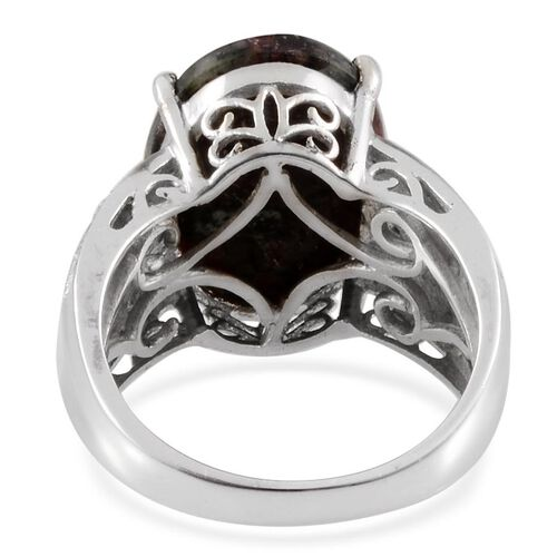 Russian Eudialyte (Ovl 7.25 Ct), Diamond Ring in Platinum Overlay Sterling Silver 7.260 Ct.