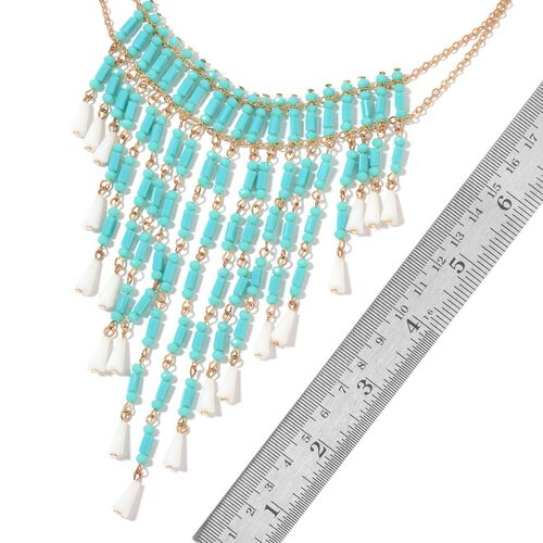 Simulated Turquoise and Simulated White Diamond Waterfall Necklace (Size 16 with 3 inch Extender) in Yellow Gold Tone